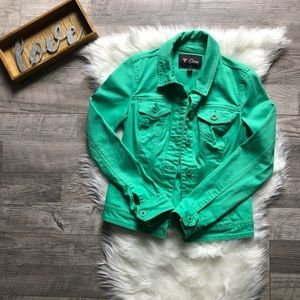 Vintage Guess Jean Jacket Electric Green